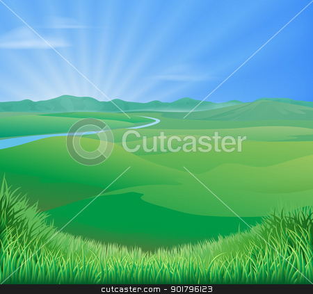 Rural landscape illustration stock vector clipart, An idyllic rural landscape illustration with rolling green grass hills and a sun rising over mountains by Christos Georghiou