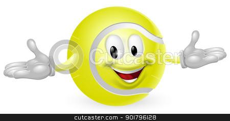 Tennis Ball Man stock vector clipart, Illustration of a cute happy tennis ball mascot man by Christos Georghiou