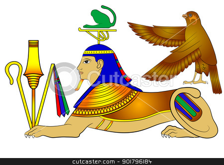 vector Sphinx - mythical creatures of ancient Egypt stock vector clipart, Sphinx - illustrations of the mythical creatures of ancient Egypt by Siloto
