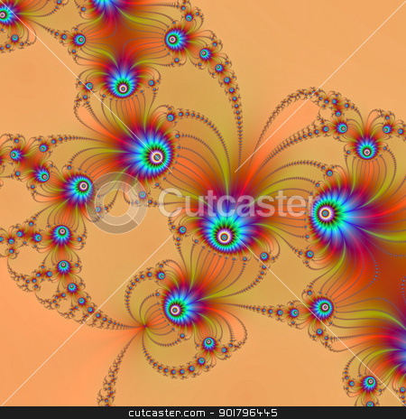 Fractal Fireworks stock photo, Computer generated abstract image with a fractal firework design in blue on a pale orange background. by Colin Forrest