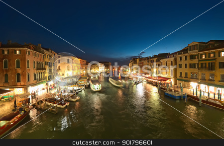 Venice at night stock photo, Grand Canal at night, Venice. Italy by Ioan Panaite