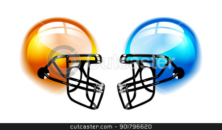 Football Helmets on white stock photo, Football Helmets with reflection on white background by sermax55
