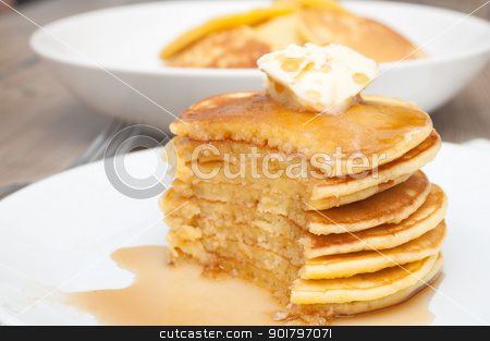 Pancakes With Butter and Maple Syrup stock photo, Homemade Pancakes With Butter and Warm Maple Syrup by JAMDesign