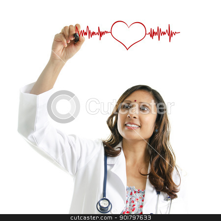 Doctor drawing a heartbeat stock photo, Asian Indian female doctor drawing a heartbeat over white background. Medical concept by szefei