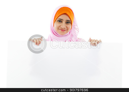White card board stock photo, Young Muslim woman holding a white board by szefei