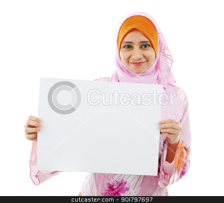 Blank card board ready for text stock photo, Beautiful Young Muslim girl holding a white card board over white background by szefei