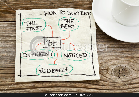 how to succeed advice stock photo, how to succeed concept on a napkin - be the first, the best, different, yourself, noticed by Marek Uliasz