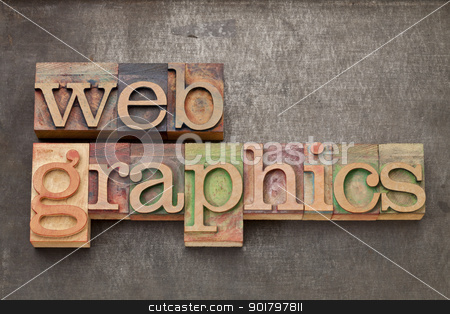 web graphics in wood type stock photo, web graphics - text in vintage letterpress wood type against grunge metal surface by Marek Uliasz