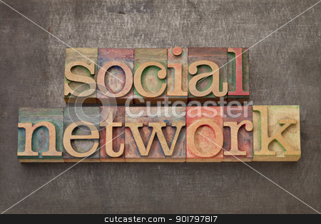 social network in wood type stock photo, social network - text in vintage letterpress wood type against grunge metal surface by Marek Uliasz