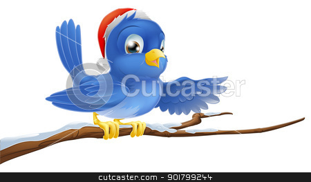 Christmas bluebird pointing stock vector clipart, A Christmas bluebird in a Santa hat pointing with its wing by Christos Georghiou
