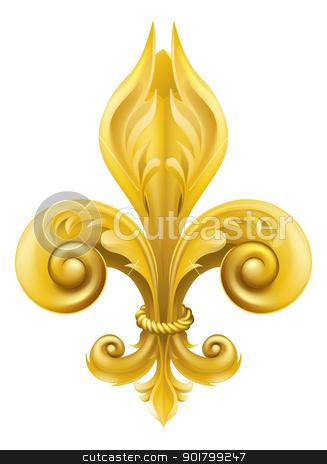 Gold Fleur-de-lis design stock vector clipart,  Illustration of a gold fleur-de-lis graphic design element  by Christos Georghiou