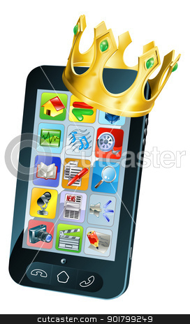 Mobile Phone King stock vector clipart, Mobile phone king concept, mobile phone wearing a gold crown by Christos Georghiou