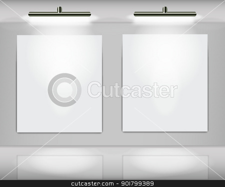 Art gallery with couple frames stock vector clipart, Two highlighted white frames in virtual art gallery by Vladimir Repka