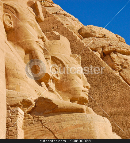 Rameses II statue stock photo, Close up of Rameses II statues in Abu Simbel temple by boonsom