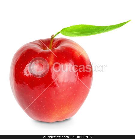 Red apple stock photo, Red ripe apple over th white background by Sergej Razvodovskij