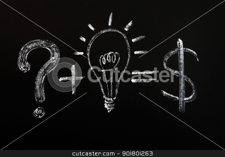 Conceptual idea of light bulb drawn on black chalkboard  stock photo, Conceptual idea of light bulb and question mark and dollar sign drawn on black chalkboard  by John Young