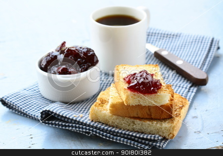 breakfast with toast and cherry jam stock photo, breakfast with toast and cherry jam by Olga Kriger