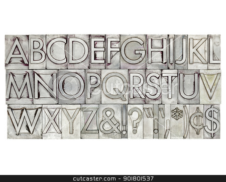 alphabet in metal type stock photo, English alphabet, dollar, cent and punctuation signs in vintage metal type by Marek Uliasz