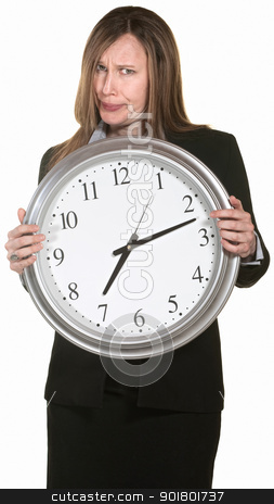 Annoyed Businesswoman with Clock stock photo, Doubtful businesswoman holding clock isolated over white by Scott Griessel
