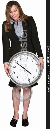 Anxious Woman at Five O'Clock stock photo, Businesswoman looking down at large clock over white background by Scott Griessel