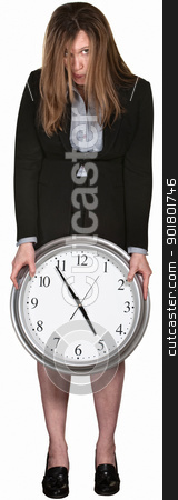 Tired Businesswoman with Clock stock photo, Depressed worker with clock at five over white background by Scott Griessel