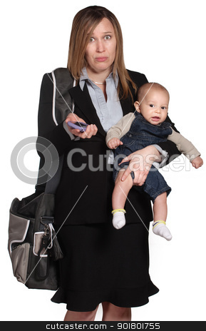 Confused Professional With Baby stock photo, Confused business lady with phone and baby over white by Scott Griessel