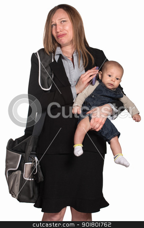 Weeping Businesswoman with Baby stock photo, Weeping female executive with baby over white background by Scott Griessel
