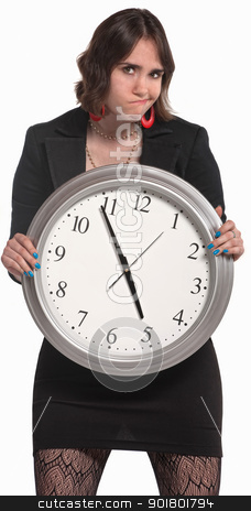 Worker With Big Clock stock photo, Disappointed young female professional with large clock  by Scott Griessel