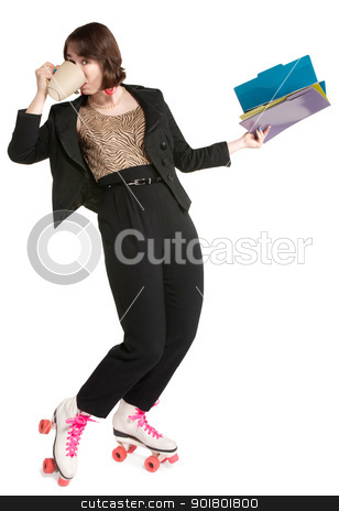 Multi-Tasking Office Worker stock photo, Happy office worker with pink roller skates by Scott Griessel