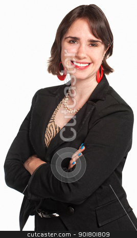 Smiling Office Worker stock photo, Confident pretty office worker over white background by Scott Griessel