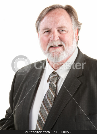 Friendly man smiling stock photo, Friendly large man smiling over white background by Scott Griessel