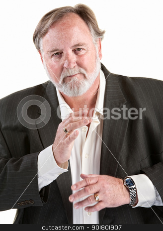 Gesturing Easygoing Man  stock photo, Friendly caucasian man gestures with his hands over white background by Scott Griessel