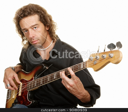 Musician With Guitar stock photo, Male musician playing guitar over white background by Scott Griessel