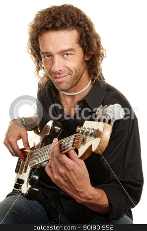 Guitar Player Over White stock photo, Smiling European man plays guitar over white background by Scott Griessel