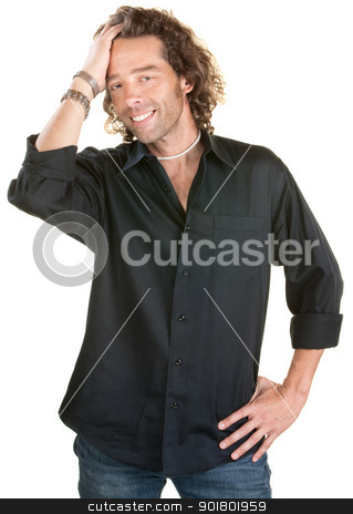 Man With Hand on Hair stock photo, Handsome white male runs hand through his hair by Scott Griessel