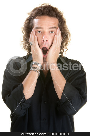 Guy with Hands on Face stock photo, Scared guy with hands on face over white background by Scott Griessel