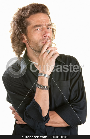 Thinking Man in Black stock photo, Thinking young European man over white background by Scott Griessel