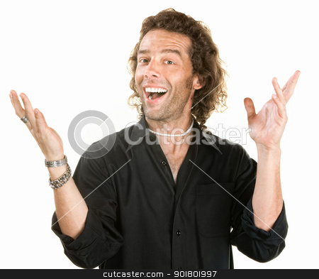 Man With Open Hands stock photo, Attractive young man with open hands over white background by Scott Griessel