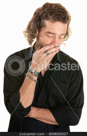 Pensive Man Over White stock photo, Pensive man covering his mouth while looking down by Scott Griessel
