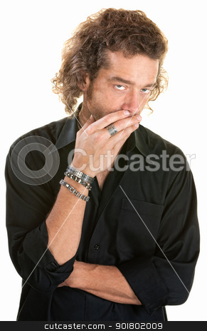 Concerned Man Over White stock photo, Man over white covers his mouth while looking up by Scott Griessel