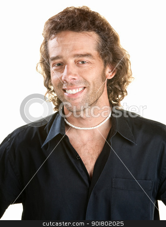Smiling Man Over White stock photo, Smiling man in black shirt isolated over white by Scott Griessel