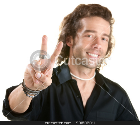 Man with V Symbol stock photo, Handsome European male with victor gesture. Fingers in focus. by Scott Griessel