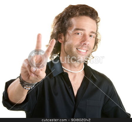 Man Makes Peace Sign stock photo, Handsome European male with victor gesture. Face in focus. by Scott Griessel