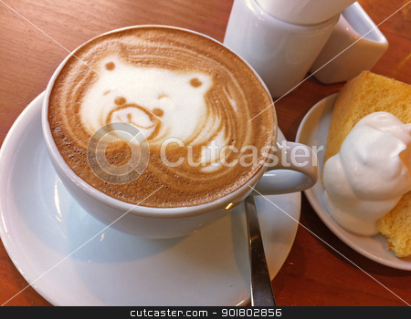 Coffee with Cafe Late Art of a Raccoon stock photo, Coffee with amazing cafe late art of a raccoon in the foam. by Daniel Chamberlin