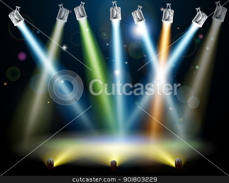 Dance floor or stage lights stock vector clipart, Dramatic multicolored lights like those on a dance floor in a disco or used in a stage light show by Christos Georghiou