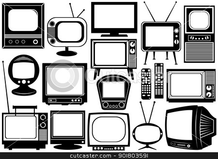 Tv set collage stock vector