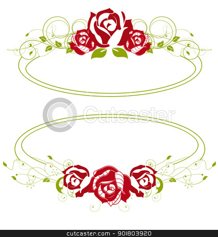 red roses stock vector clipart, red roses in a green frame by Miroslava Hlavacova