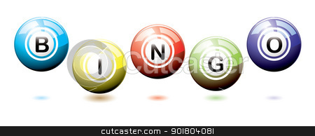 Bingo balls bounce stock vector clipart, Set of brightly coloured bingo balls bouncing on a white background with shadows by Michael Travers