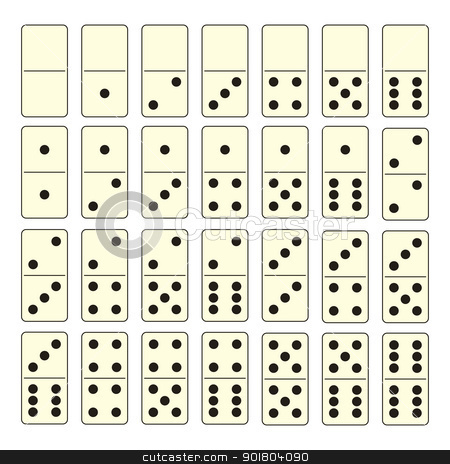Domino set stock vector clipart, Collection of old fashioned domino set with black spots by Michael Travers