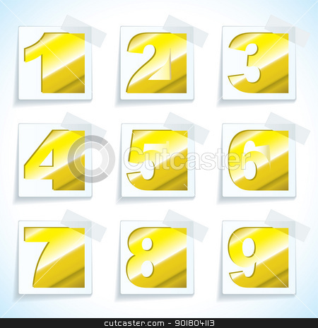 Number pepr gold tags stock vector clipart, Collection of number paper tags in gold metal with light reflection by Michael Travers